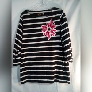 Bob Mackie Top Sz L Black Stripes 3/4 Sleeves
